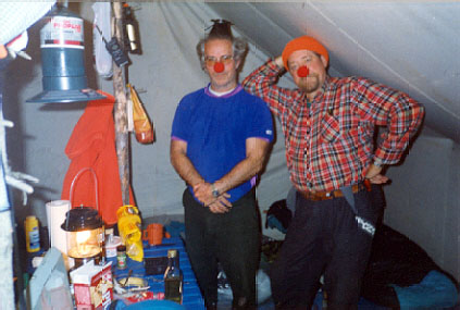 Two clowns out moose hunting
