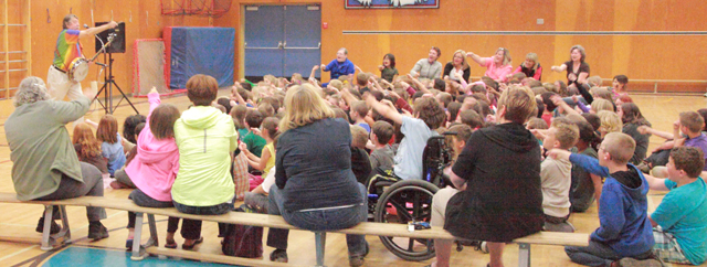 Ian Johnstone and the students and teachers of Uplands Park Elem (Nanaimo, BC) ZAP! away the monster Abbey-Yo-Yo - June 4/12